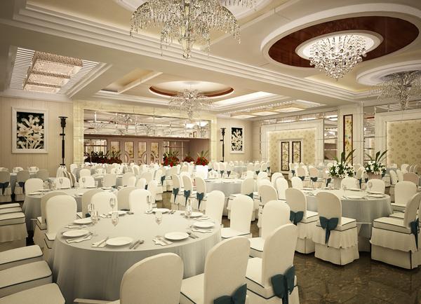 Nhìn tổng quan thiết kế nhà hàng tiệc cưới với gam màu trắng sang trọng, tinh tế kết hợp cùng với cây xanh hợp lý tạo điểm nhấn cho nhà không gian nhà hàng